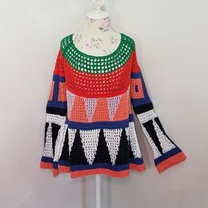 Free People Colorful Knit Sweater
